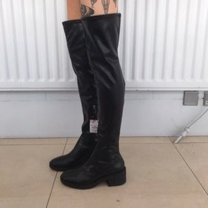 Zara Faux Leather Over the Knee Boots